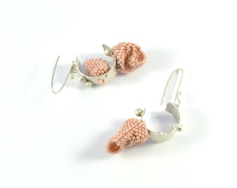 IN and OUT Collection - Earrings.Beadweaving,beadwork,metal earrings.Sterling Silver earrings.One of a kind piece.Entirely made by hand.