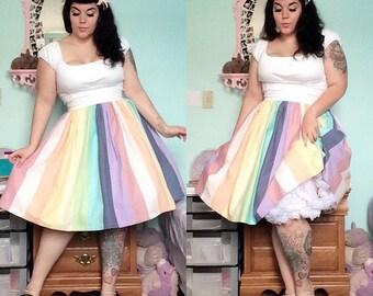 Pastel Rainbow Trixie Skirt - 1950s style reproduction custom handmade