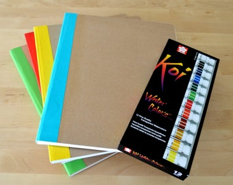 Large watercolor Journal with 40 pages of 300 gsm Fabriano cold pressed watercolor paper and kraft Hard Covers