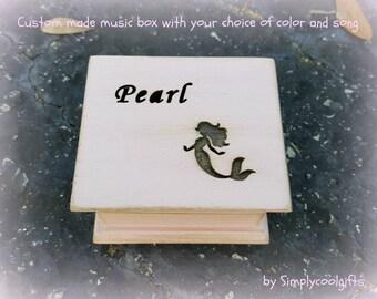music box, wooden music box, custom made music box, mermaid, mermaids, mermaid music box, personalized music box, musical box,