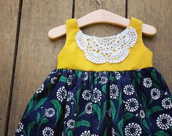Doily Dress, Mustard and Navy, Girls Dress, boho dress, birthday dress, bohemian dress, toddler dress, Dandelion, gypsy dress, fall