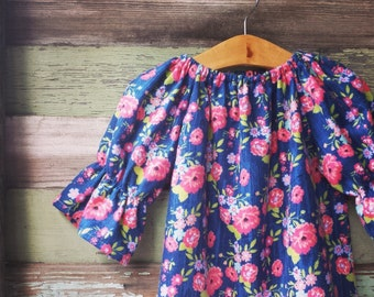 Girls Dress, floral flannel dress, fall peasant dress, long sleeve dress, Navy, coming home outfit, baby clothes, sizes Newborn to 11/12