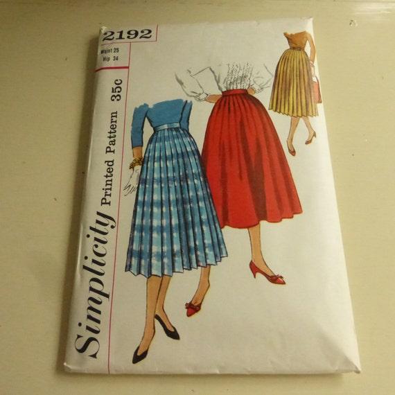 vintage simplicity pattern 2192 pleated skirt misses waist 25