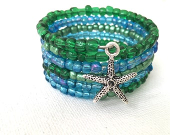 Blue and Green Beaded Starfish Summer Wrap Bracelet, Teen gift idea for her,