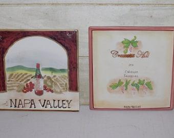 American Atelier Home Earthenware Set of Two Square Plates - Napa Valley - Wall Decor - Crescent Hill- Cabernet Sauvignon - Grapes- Wineries