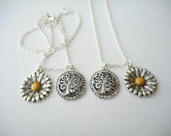 2 Sunflower, Tree- Friendship Necklaces/ birthday gift, friendship jewelry, Sister jewelry, gift for sister, Sister Necklace, Sisters