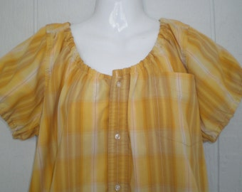 Peasant Blouse upcycled from a men's shirt, 52 inch, Large, yellow and gold plaid, boho, short sleeve, loose comfy