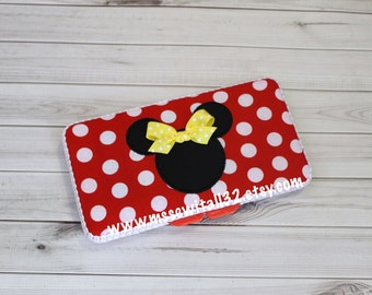 Custom Minnie / Mickey Mouse Diaper Wipes Case