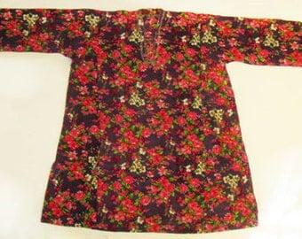 Vintage Uzbek Dress Chemise Floral Pattern