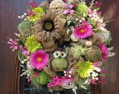 Spring/Summer Burlap and Mesh Wreath with an Owl
