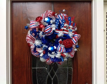 God Bless the USA Patriotic Mesh Wreath