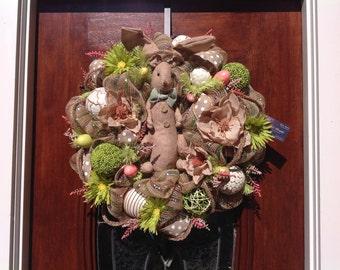 Burlap Bunny Mesh Wreath