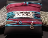 Humankind Be Both hand stamped hand dyed silk wrap bracelet with Peace sign charm and  magnetic clasp by D2E Gallery