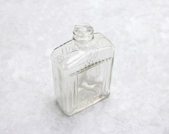 Vintage Art Deco Clear Glass Bottle, Mens Aftershave Bottle, Fitch Skin Pep, Square Bottle, Clear Glass 1940s Bottle, Epsteam