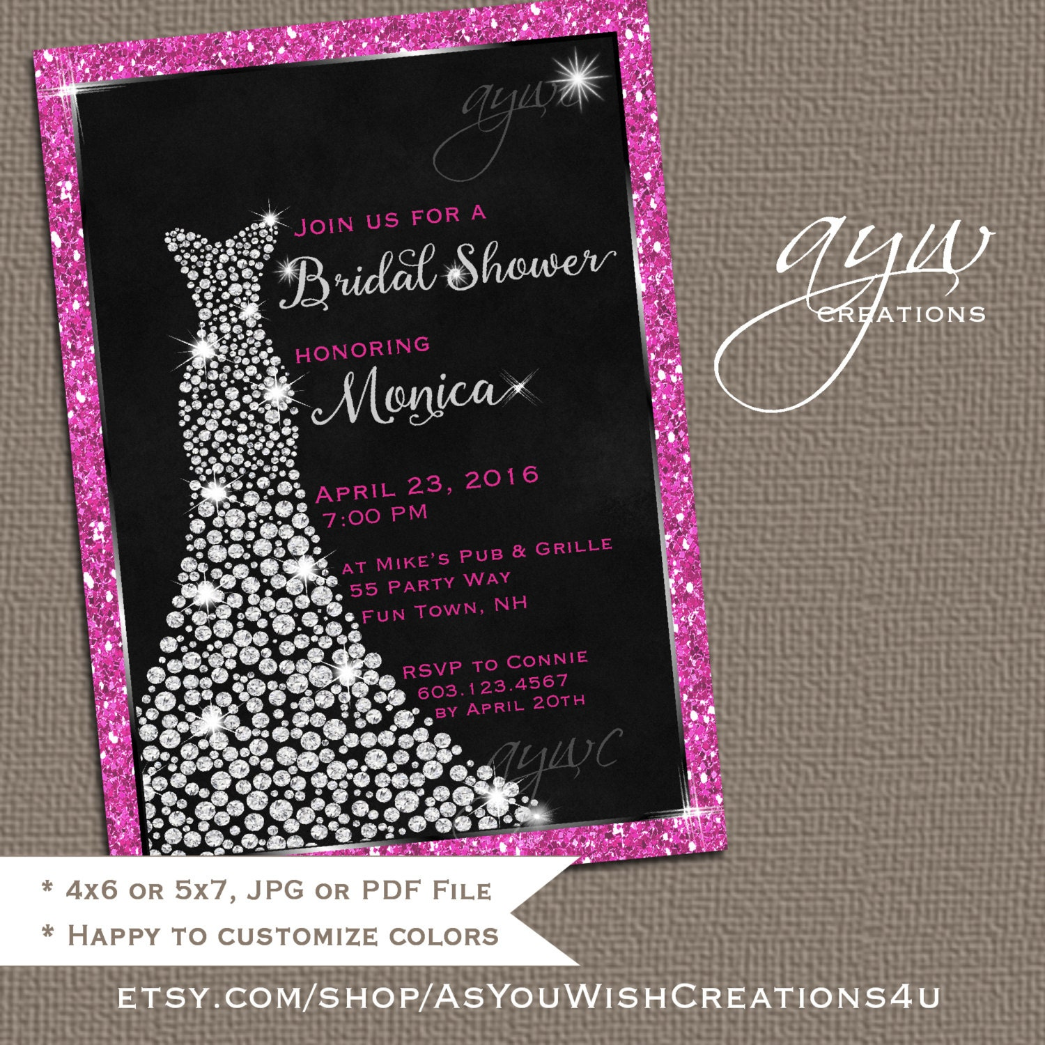 Wedding dress bridal shower invitation printable bridal shower for Wedding dress bridal shower invitations