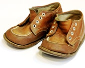 Old Brown Leather Childs Shoes, Vintage Rustic Rough Worn Prim Toddlers Shoes, Photo Prop or Upcycle  itsyourcountryspirit