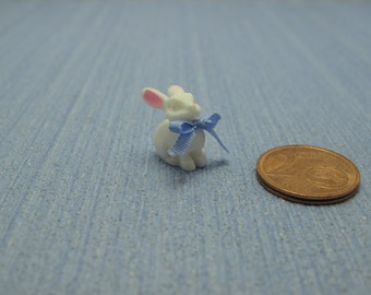 Gaël Miniature Vintage  shabby chic sweet bunny blue bow baby Dollhouse Miniature child toy Accessory