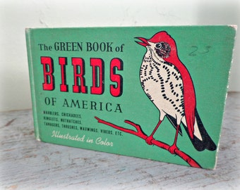 antique book / the green book of birds of america / small & lovely gift / bird watchers / color illustrations