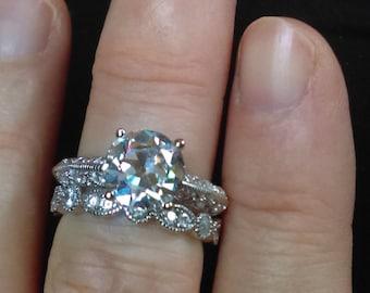 Antique Engagement Ring Set - Old European Cut Engagement Ring