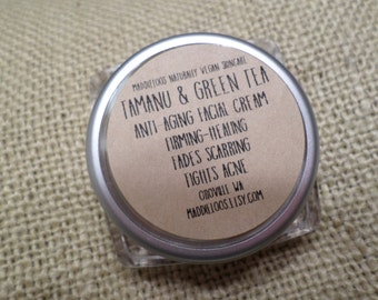 SALE-VEGAN-Tamanu & Green Tea-anti-aging Facial Cream in 2 sizes-firming, healing-1/2 oz.(.5) and 2 oz.