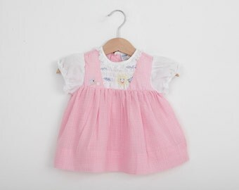 Vintage Baby Dress in Pink with Sunshine Scene  /  Nanette Brand Dress / 0 to 3 months