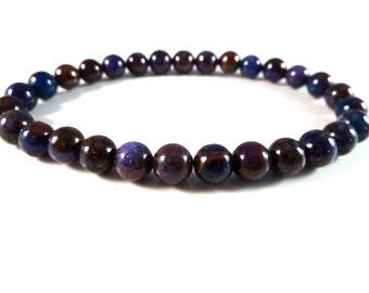 Sugilite Stretch Bracelet Genuine Smooth Round 6mm Gemstone Beads Deep Purple Royal Blue