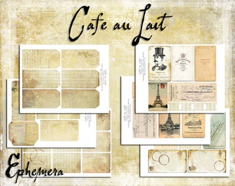 Digital Paper Pack Cafe Au Lait Ephemera