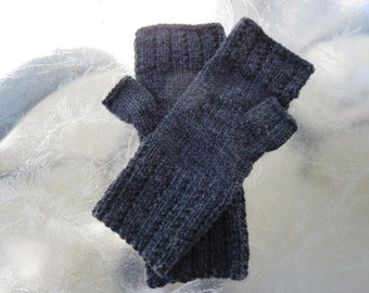 Hand knit ladies dark gray 100% wool fingerless gloves