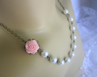 Pink and White Bridesmaid Necklace Rose Bronze Necklace Spring Wedding Bridal Party
