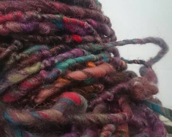 Eastern promise - super bulky yarn with wool and recycled sari silk - semi-felted single ply bulky thick and thin handspun