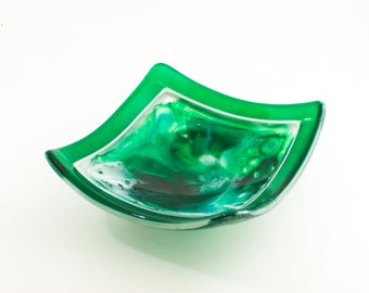 Elevated Bowl, Swooping Curves, Fused Glass Dish, Green and White, Unique Table Decor, Living Room Accent, Housewarming Gifts for Women