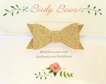 Gold Glitter Baby Bow Headband, Baby Headbands, Infant Headbands, Baby Girl Headbands, Infant Bow, Baby Bow, Girl Bow,Girl Headbands