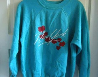 Vintage 80s NEW YORK Tourist Crewneck Sweatshirt sz S/M