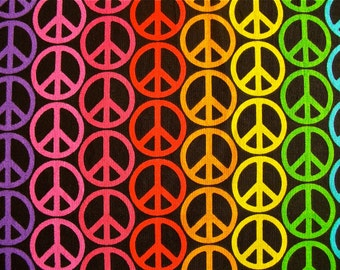 Peace Sign Quilting Fabric 1 1/2 yd by 44 inches