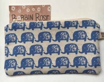 Zip purse, mini elephants zip pouch, pencil case in cute blue elephant fabric