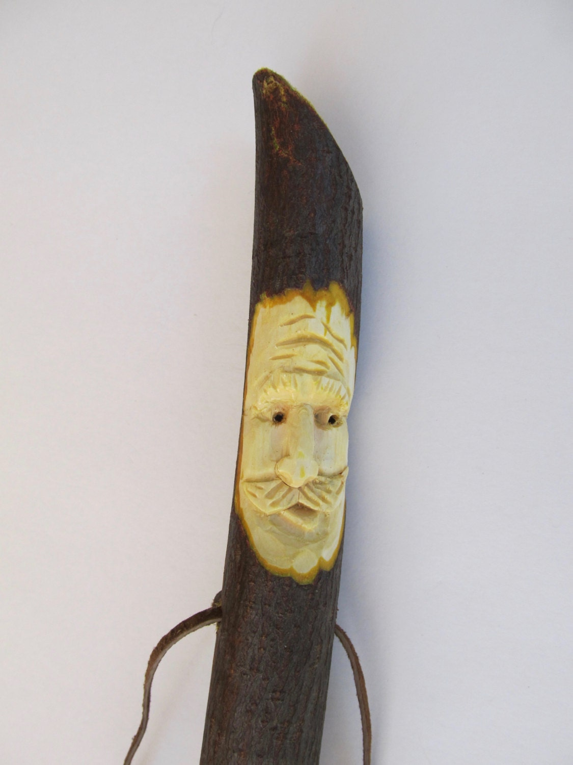 Walking stick wood spirit hiking carved