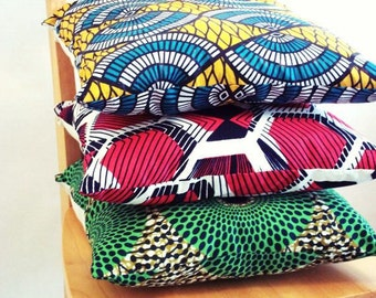 "African Printed (3) 20"" Ankara Pillow"