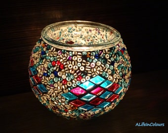 Handmade unique Turkish colourful glass mosaic candle holder, pencil holder.