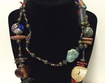 Treska Long Trade Bead Necklace