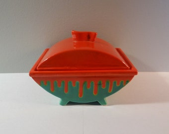 Vintage pottery, lidded dish, Made in Japan, 1940s
