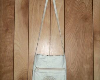 Book Bag. Composition Book Bag, w. Attached Zipper Purse for Assorted Paraphernalia. Cross Body strap. Leaf applique book bag. USA Made
