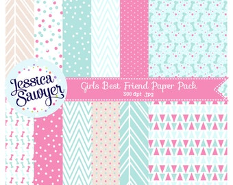 INSTANT DOWNLOAD - Aqua and Pink Digital Paper Pack for Personal and Commercial Use