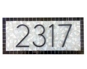 Mosaic House Number Sign in Black and White