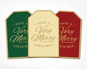 Christmas Gift Tags Printable - Instant Download PDF File - Merry Christmas Tags Digital Sticker - Red Green Gold Calligraphy
