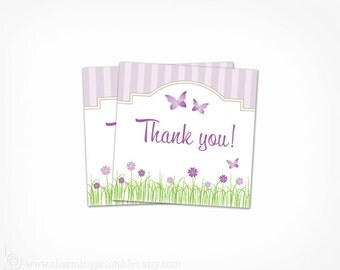 Garden Party Favor Tags Printable - INSTANT DOWNLOAD Purple Butterfly Flower Birthday Party Baby Shower Thank You Tags Stickers