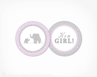 Purple Cupcake Toppers Elephant Baby Shower - PRINTABLE Instant Download - Purple and Grey Gray Girl Decorations It's a Girl Favor Tags