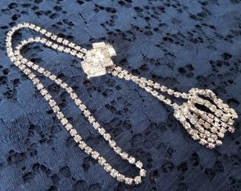 Vintage Rhinestone Lariat Necklace Patent Appl'd Q
