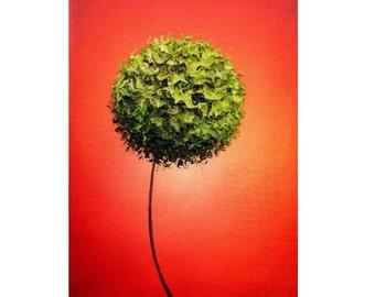 Mid Century Art Print, Minimalist Art Wall Decor, Green and Red Wall Art, Green Flower Art Print, Simple Art, Modern Abstract Expressionism
