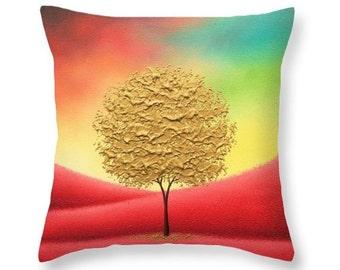Gold Tree Pillow, Elegant Throw Pillow, Multicolored Living Room Decor, Autumn Landscape Decorative Pillow, Couch Pillow, Regal Bed Pillow