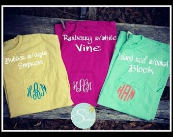 Monogram Comfort Color Pocket T-shirt*Pocket monogram*Spring colors*comfort color monogram shirt